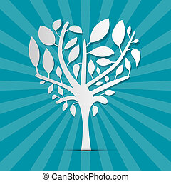 Abstract Heart Shaped Tree on Blue Retro Background