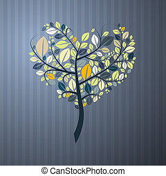 Abstract Heart Shaped Tree on Paper Background