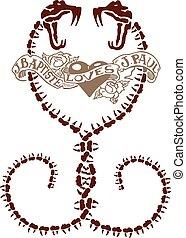 Abstract heart snake tattoo design