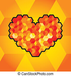 Abstract heart symbol created from cubes - illustration
