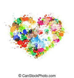 Abstract Heart Symbol Made From Colorful Splashes, Blots, Stains