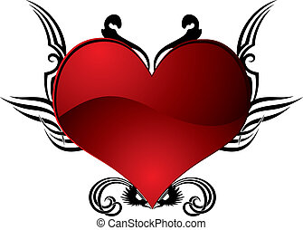 heart tattoo - abstract heart tattoo in red and black ideal...