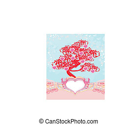 abstract heart tree - beautiful valentines card
