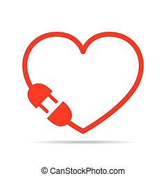 Abstract heart. Vector illustration - Electric cable, plug...