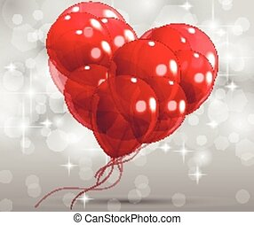 abstract heart with balloons
