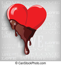 Abstract heart with chocolate - Vector illustration