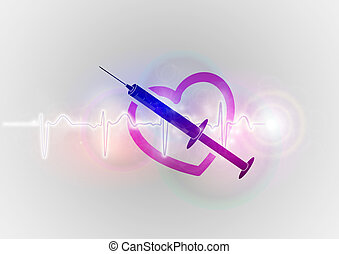 abstract heart with injection
