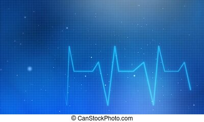 Abstract Heartbeat line cardiogram Blue Heart pulse beat monitor with signal loop.