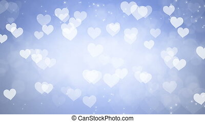 Abstract Hearts Bokeh Blue Background.