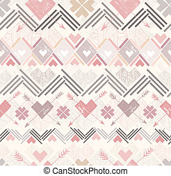 Abstract hearts seamless pattern