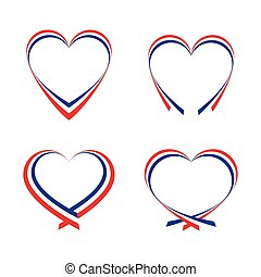 Abstract hearts with the colors of the French flag