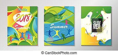 Abstract Hello Summer posters set - Abstract Hello Summer...