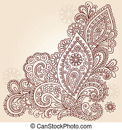 Abstract Henna Doodle Vector Design - Hand-Drawn Abstract...