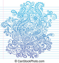 Hand-Drawn Paisley Henna Style Sketchy Notebook Doodles Vector Illustration on Lined Sketchbook Paper Background