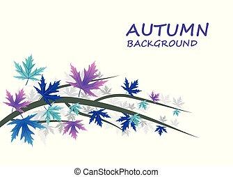 abstract, herfst, achtergrond, met, blauwe , en, paarse , bladeren