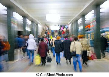 abstract, het zoemen, passagiers, in, metro