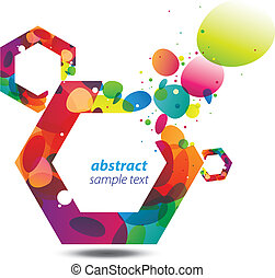 Abstract background with bursting colorful bubbles out of a hexagon, a modern, stylish and vivid copy space