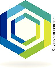 Abstract hexagon business symbol