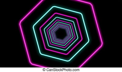 """Abstract Hexagon Formed Colorful Tunnel"""