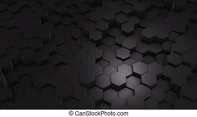 Abstract Hexagon Geometric Intro. Animated Surface Loop footage. Dark hexagonal grid pattern background, randomly waving motion in pure white wall. Seamless loop