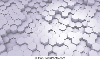 Abstract Hexagon Geometric Intro. Animated Surface Loop footage. Light hexagonal grid pattern background, randomly waving motion in pure white wall. Seamless loop