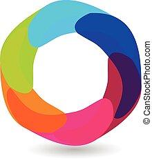 Abstract hexagon logo design
