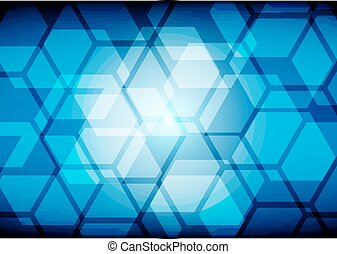 Abstract hexagon on blue background. illustration vector design