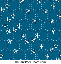Abstract hexagon seamless pattern with airplanes