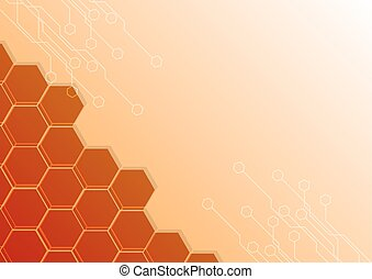 abstract Hexagon with circuit Design on orange color Background