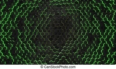 Abstract hexagon with neon geometry background