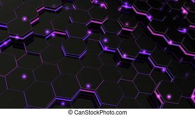 Abstract hexagonal glowing background. Seamless loop...