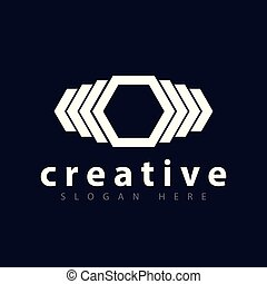 Abstract Hexagonal logo vector