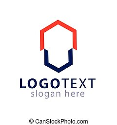 Abstract hexagonal logo vector template