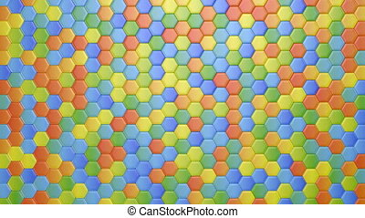 Abstract Hexagonal Multicolored Background, Seamless Looping...