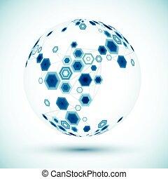 Abstract hexagonal sphere. Vector background