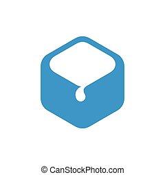 abstract hexagonal water drop symbol vector