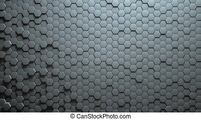 Abstract Hexagons Background Random Motion, 3d Animation