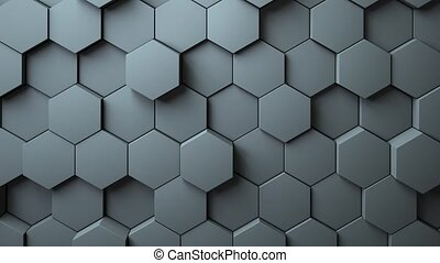 Abstract Hexagons Background Random Motion, 3d Loopable...