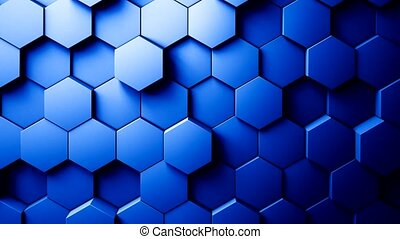Abstract Hexagons Background Random Motion. Blue color 4K