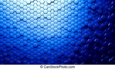 Abstract Hexagons Background Random Motion, Blue color -...