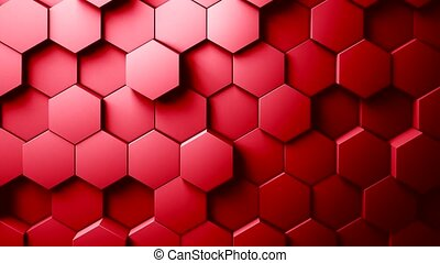 Abstract Hexagons Background Random Motion, Red color -...