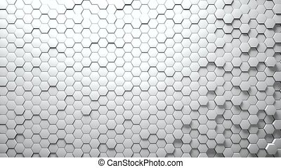Abstract Hexagons Background Random Motion. White color -...