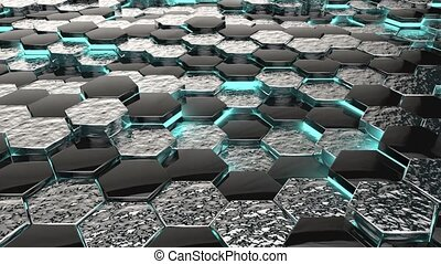 Abstract Hexagons black silver Background with blue neon elements,3d looped Animation in 4k.Seamless loop digital hexagon motion graphics