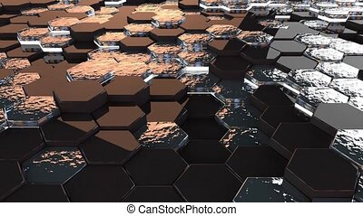 Abstract Hexagons black silver gold .Background with blue neon elements,3d looped Animation in 4k.Seamless loop digital hexagon motion graphics.