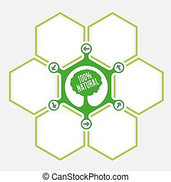 Abstract hexagons for your text and tree symbol
