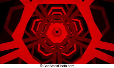 Abstract hexagons in red on black