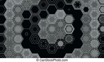 Abstract Hexagons on a Black Background