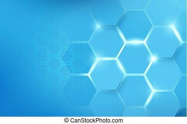 Abstract hexagons pattern blue. Technology concept background