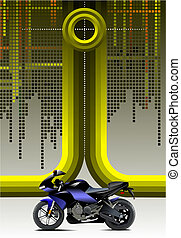 Abstract hi-tech background with motorcycle image. Vector