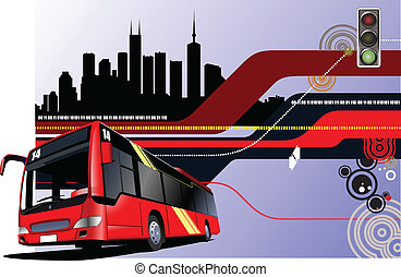 Abstract hi-tech background with bus image. Vector illustration